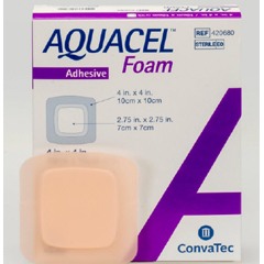 MON34092101 - Convatec - Silicone Foam Dressing Aquacel 4 X 4 Inch Square Silicone Adhesive with Border Sterile, 1/ EA