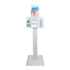 MON34113200 - McKessonHygiene Dispensing Station Quartz Beige Aluminum / Cold Rolled Steel / PETG Plastic Manual Floor Stand, 1/ EA