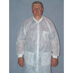 MON34141100 - McKessonLab Coat Medi-Pak® Performance Blue Small / Medium Long Sleeve Knee Length, 30EA/CS