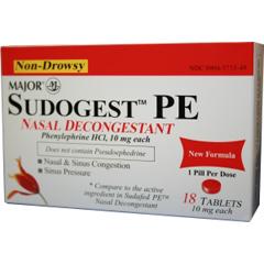 MON34212700 - Major PharmaceuticalsCold Relief Sudogest PE 10 mg Strength Tablet 10 per Box
