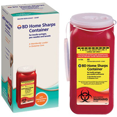 MON34262812 - BDDiabetic Supplies Sharp Collector 2-Piece Red Base Vertical Entry Lid