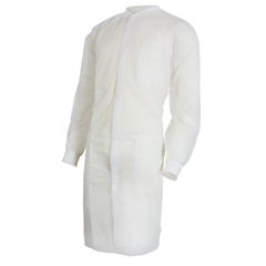 MON34381100 - McKessonLab Coat Medi-Pak® Performance White Large to X-Large Long Sleeve Knee Length, 30EA/CS