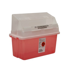 MON35362800 - MedtronicSharps-A-Gator™ Safety In Room Sharps Container Counterbalance Lid, Transparent Red 5 Quart