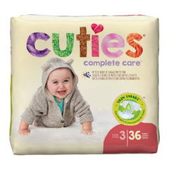 MON874709PK - First Quality - Cuties® Diapers 16-28 lbs. Size 3, 36 EA/PK