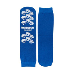 MON38161200 - McKessonSlipper Socks Adult X-Large Royal Blue Above the Ankle