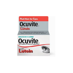 MON822915BT - Bausch & Lomb - Eye Vitamin and Mineral Supplement with Lutein Ocuvite 1000 IU / 60 IU / 200 mg / 2 mg Strength Tablet 120 per Bottle