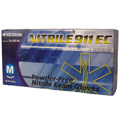 MON40771300 - McKessonExam Glove NITRILE 911® EC NonSterile Powder Free Nitrile Textured Fingertips Blue Chemo Rated Medium Ambidextrous, 50EA/BX