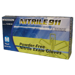 MON41311300 - McKessonExam Glove NITRILE 911® NonSterile Powder Free Nitrile Textured Fingertips Blue Chemo Rated Medium Ambidextrous, 100EA/BX