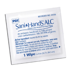 MON43601100 - Professional DisposablesAntiseptic Hand Wipe Sani-Hands® ALC 8 X 5.3 Inch Fragrance Free Individual Packet Disposable, 100EA/BX