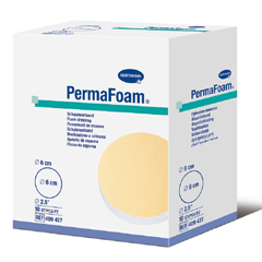 MON44272010 - Hartmann - Foam Dressing PermaFoam 2-1/2 Inch Diameter Fenestrated Round Non-Adhesive without Border Sterile, 10/BX