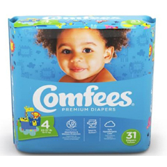 MON44443104 - AttendsBaby Diaper Comfees Tab Closure Size 4 Disposable Moderate Absorbency, 31/BG