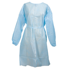 MON44451101 - McKessonFluid-Resistant Gown Medi-Pak Performance Blue One Size Fits Most Adult Elastic Cuff Disposable