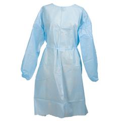 MON44601100 - McKessonFluid-Resistant Gown Medi-Pak® Performance One Size Fits Most Polyethylene Coated Polypropylene Blue Adult, 50EA/CS