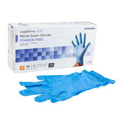 MON921601BX - McKesson - Exam Glove Confiderm NonSterile Powder Free Nitrile Textured Fingertips Blue Chemo Rated X-Small Ambidextrous