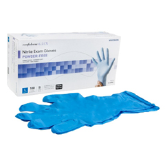 MON921608CS - McKesson - Exam Glove Confiderm Extended Cuff NonSterile Powder Free Nitrile Textured Fingertips Blue Chemo Rated Large Ambidextrous