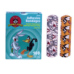 MON46992000 - Derma Sciences - Adhesive Strip Stat Strip Plastic 3/4 X 3 Inch Rectangle Looney Tunes / Bugs and Daffy, 100/BX