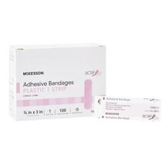 MON48352000 - McKesson - Adhesive Strip 3/4 X 3 Plastic Rectangle Pink Sterile, 100/BX
