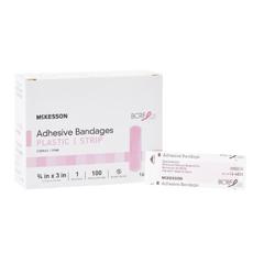 MON48352024 - McKesson - Adhesive Strip 3/4 X 3 Plastic Rectangle Pink Sterile, 100/BX, 24BX/CS