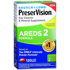 MON854031BT - Bausch & Lomb - Eye Vitamin with Lutein Supplement PreserVision Areds 2 2200 IU / 226 mg Strength Capsule 120 per Bottle