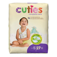 MON699155PK - First Quality - Cuties® Diapers, Over 27 lbs. Size 5, 27 EA/PK