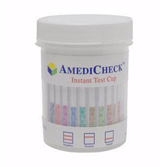 MON50332400 - Alere - Drugs of Abuse Test AmediCheck 5-Drug Panel with Adulterants AMP, COC, mAMP/MET, OPI, THC (OX, pH, SG) Urine Sample CLIA Waived, OTC Approved 25 Tests