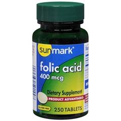 MON51262700 - McKessonsunmark® Folic Acid Dietary Supplement 400 mcg Tablets, 250 per Bottle