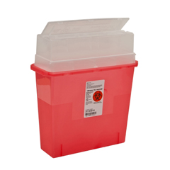 MON53212800 - MedtronicSharpSafety™ In Room Sharps Container, Always Open Lid, Transparent Red, 2 Gallon