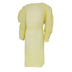 MON53801100 - McKessonFluid-Resistant Gown Yellow One Size Fits Most Adult Elastic Cuff Disposable