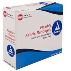 MON55442000 - Dynarex - Adhesive Strip .75 x 3 Fabric Rectangle Sterile