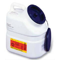 MON56332801 - BDPharmaceutical Waste Container Jug 3 Gallon White Base Blue Plug Cap