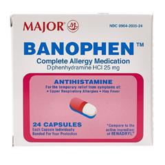 MON56562700 - Major PharmaceuticalsAllergy Relief 25 mg Strength Capsule 24 per Bottle, 24/BT