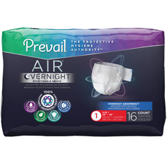 MON56568600 - First Quality - Adult Incontinent Brief Prevail Air™ Overnight Tab Closure Size 1 Disposable Heavy Absorbency, 96/CS