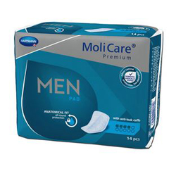 MON57743100 - Hartmann - Bladder Control Pad MoliCare® Premium Moderate Absorbency One Size Fits Most Male Disposable, 14/BG