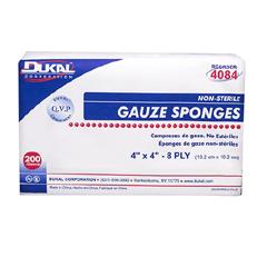 MON58402000 - DukalGauze Sponge Cotton 8-Ply 4 X 4 Inch, 200/BX