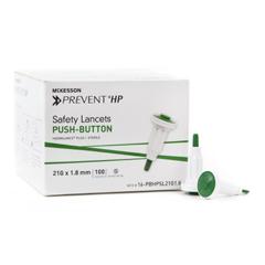 MON62182420 - McKesson - Safety Lancet McKesson Prevent® Fixed Depth Lancet Needle 1.8 mm Depth 21 Gauge Push Button, 100/BX, 20BX/CS