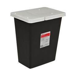 MON62421100 - MedtronicSharpSafety™ RCRA Hazardous Waste Container Hinged Lid, Black 18 Gallon