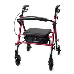 MON62613800 - McKesson - 4 Wheel Rollator Red Adjustable Height Aluminum Frame, 1/ EA