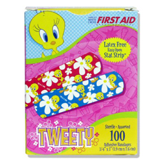 MON63422000 - Dukal - Adhesive Strip Stat Strip® .75 x 3 Plastic Rectangle Kid Design (Looney Tunes / Tweety) Sterile, 1200/CS