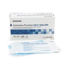 MON960942BX - McKesson - Sterilization Pouch EO Gas / Steam 3.5 X 5 Inch Transparent Blue / White Self Seal Paper / Film, 200EA/BX