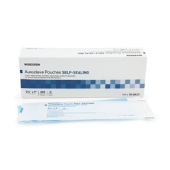 MON960943BX - McKesson - Sterilization Pouch EO Gas / Steam 3.5 X 9 Inch Transparent Blue / White Self Seal Paper / Film, 200EA/BX