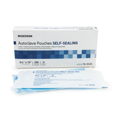 MON64241200 - McKessonSterilization Pouch EO Gas / Steam 5.25 X 10 Inch Transparent Blue / White Self Seal Paper / Film, 200EA/BX