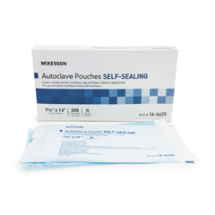 MON960945BX - McKesson - Sterilization Pouch EO Gas / Steam 7.5 X 13 Inch Transparent Blue / White Self Seal Paper / Film, 200EA/BX