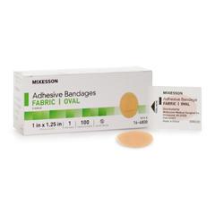 MON64802000 - McKesson - Adhesive Strip 1 X 1-1/4 Inch Fabric Oval Tan Sterile, 100 EA/BX, 24BX/CS