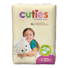 MON66113101 - First QualityCuties® Diapers, Over 35 lbs. Size 6, 23EA/PK