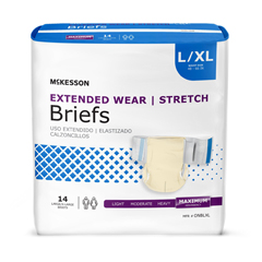 MON980311CS - McKesson - Extended Wear Heavy Absorbency Briefs, Large / X-Large, 56/CS