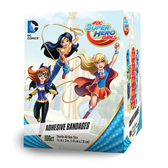 MON67222012 - Dukal - Adhesive Strip 3/4 x 3 Plastic Rectangle Kid Design (DC Super Hero Girls) Sterile, 100/BX