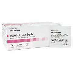MON68182720 - McKessonAlcohol Prep Pad Medi-Pak™ Isopropyl Alcohol, 70% Individual Packet Medium Sterile, 200EA/BX 20BX/CS