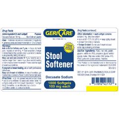 MON70082712 - McKessonStool Softener Softgel Capsule 1000 per Bottle 100 mg Strength Docusate Sodium