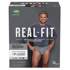 MON1160314CS - Kimberly Clark Professional - Depend® Real Fit® Male Adult Absorbent Pull On Underwear with Tear Away Seams Small / Medium Disposable Heavy Absorbency
