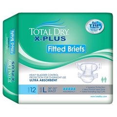 MON70353110 - Secure Personal Care Products - Adult Incontinent Brief Total Dry X-Plus Tab Closure X-Large Disposable Heavy Absorbency, 12/BG, 4BG/CS